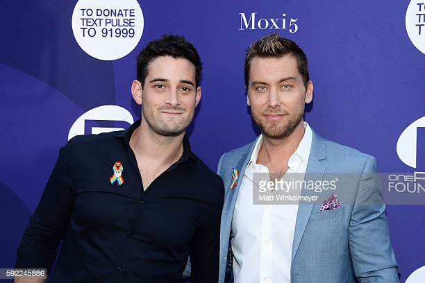 Michael Turchin and Lance Bass arrive at the Benefit for onePULSE Foundation at NeueHouse Hollywood on August 19 2016 in Los Angeles California