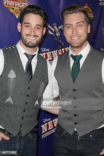 Michael Turchin and singer Lance Bass attend the LA premiere of Disney's 'Newsies' at the Pantages Theatre on March 26 2015 in Hollywood California