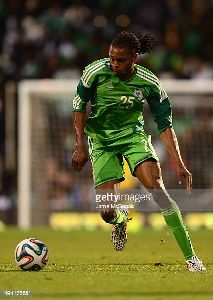 Michael Uchebo of Nigeria in action during the International Friendly match between Nigeria and Scotland at Craven Cottage on May 28 2014 in London...