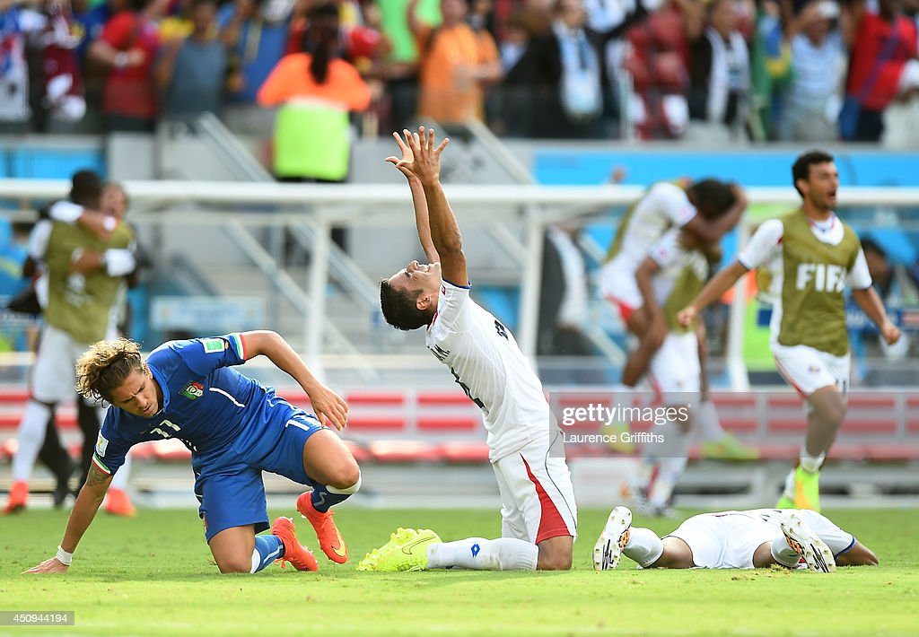 Michael Umana of Costa Rica celebrates a 1-0 victory over Italy in the 2014 FIFA World Cup Brazil Group D match between Italy and Costa Rica at Arena Pernambuco on June 20, 2014 in Recife, Brazil.