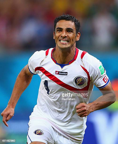 Michael Umana of Costa Rica celebrates after scoring his penalty kick and defeating Greece during the 2014 FIFA World Cup Brazil Round of 16 match...
