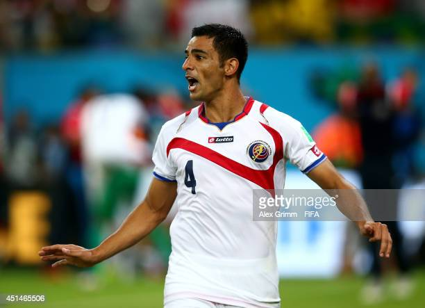Michael Umana of Costa Rica celebrates the win after the 2014 FIFA World Cup Brazil Round of 16 match between Costa Rica and Greece at Arena...