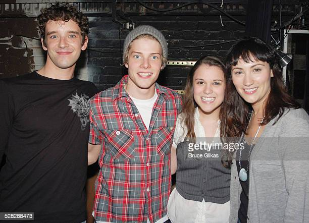 Michael Urie Hunter Parrish Alexandra Socha and Eden Espinosa pose backstage at Spring Awakening on Broadway at The Eugene O'Neill Theater on...