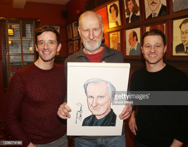 Michael Urie James Cromwell and Ben McKenzie pose as Sardis honors James Cromwell with his caricature for his performance in broadway's Grand...