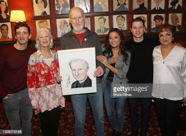 Michael Urie Jane Alexander James Cromwell Ashley Park Ben McKenzie and Priscilla Lopez pose as Sardis honors James Cromwell with his caricature for...