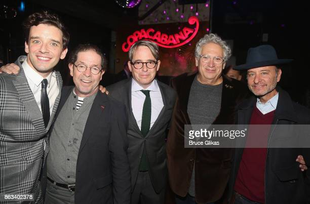 Michael Urie Jonathan Hadary Matthew Broderick Harvey Fierstein and Fisher Stevens pose at the after party for the Second Stage Theatre Company...