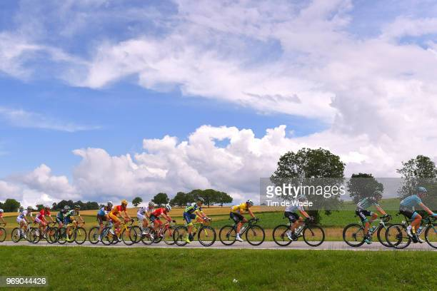 Michael Valgren of Denmark and Astana Pro Team / Emanuel Buchmann of Germany and Team Bora - Hansgrohe / Jonathan Castroviejo of Spain and Team Sky /...