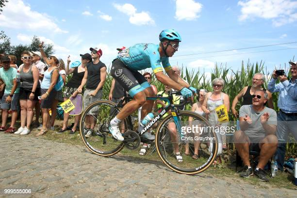 Michael Valgren of Denmark and Astana Pro Team / ont Thibault a Ennevelin Cobbles Sector 1 / Pave / during the 105th Tour de France 2018 Stage 9 a...