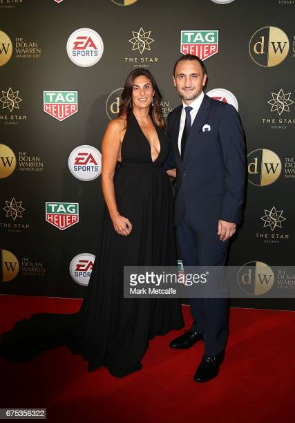 Michael Valkanis and Venita Valkanis arrive ahead of the FFA Dolan Warren Awards at The Star on May 1 2017 in Sydney Australia
