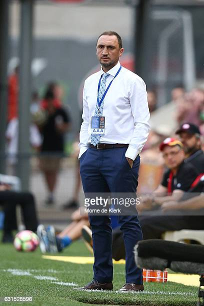 Michael Valkanis head coach of Melbourne City looks on during the round 15 ALeague match between Adelaide United and Melbourne City FC at Coopers...
