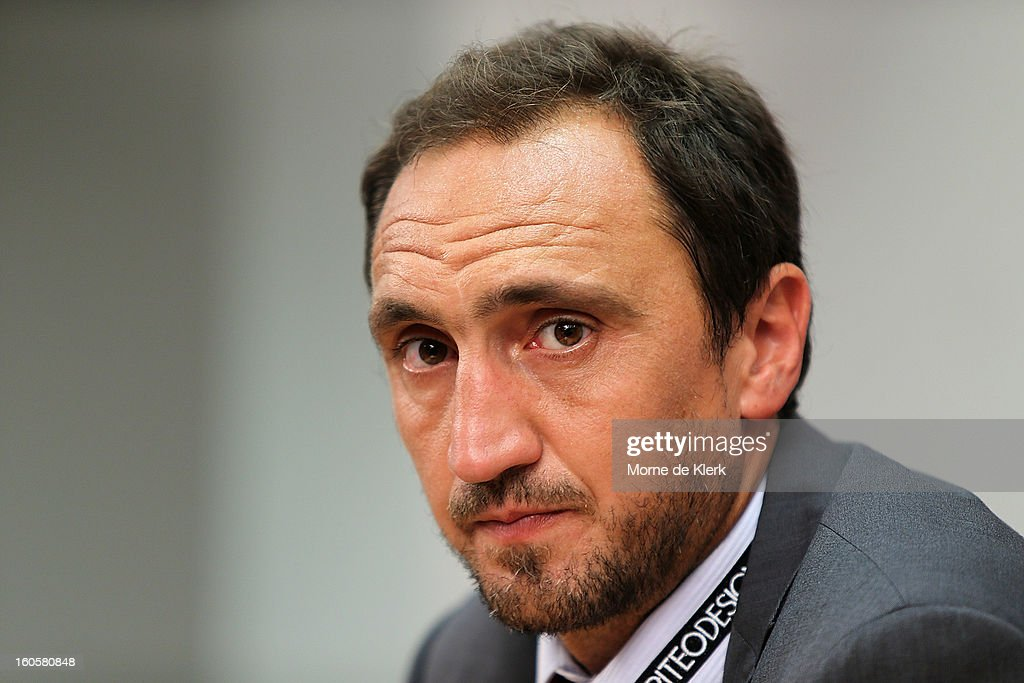 Michael Valkanis, interim coach of Adelaide, during a press conference after the round 19 A-League match between Adelaide United and the Western Sydney Wanderers at Hindmarsh Stadium on February 3, 2013 in Adelaide, Australia.