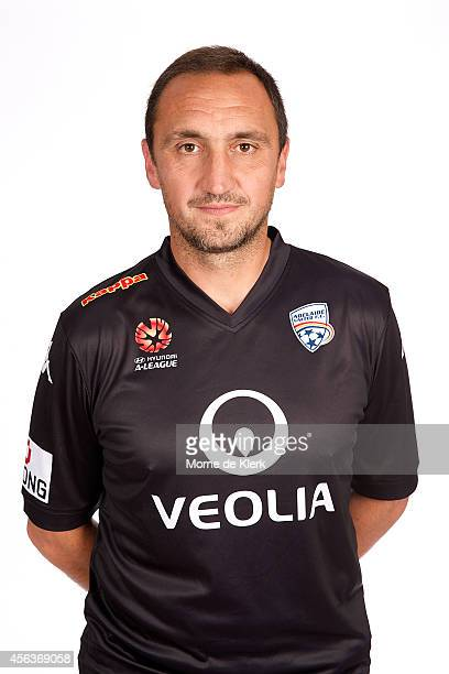 Michael Valkanis poses during the Adelaide United ALeague headshots session at Coopers Stadium on September 30 2014 in Adelaide Australia