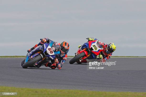 Michael Van Der Mark of Nederland and Pata Yamaha WorldSBK Official Team leads the field during the 2020 Superbike World Championship at Phillip...