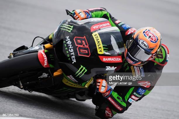 Michael Van Der Mark of Netherlands and Monster Yamaha Tech 3 rounds the bend during the qualifying practice during the MotoGP Of Malaysia Qualifying...