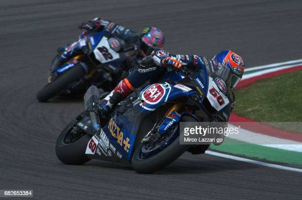 Michael Van Der Mark of Netherlands and PATA Yamaha Official WorldSBK Team leads Alex Lowes of Great Britain and PATA Yamaha Official WorldSBK Team...