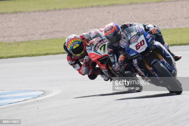 Michael Van Der Mark of Netherlands and PATA Yamaha Official WorldSBK Team leads Chaz Davies of Great Britain and ARUBAIT RACINGDUCATI during the...