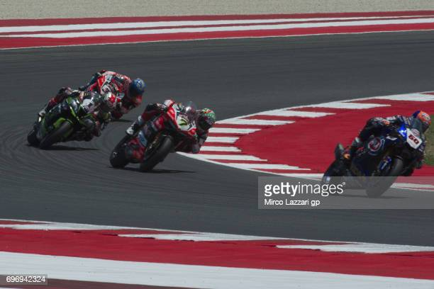 Michael Van Der Mark of Netherlands and PATA Yamaha Official WorldSBK Team leads the field during the Superbike Race 1 during the FIM Superbike World...