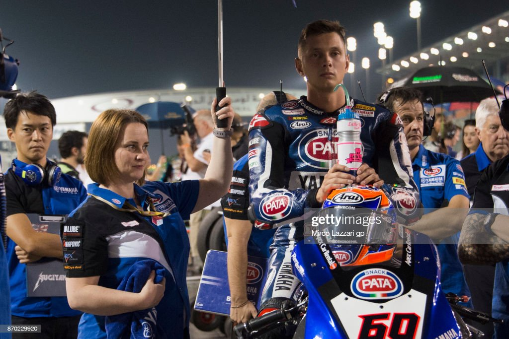 Michael Van Der Mark of Netherlands and PATA Yamaha Official WorldSBK Team looks on on the grid during the Superbike race 2 during the FIM Superbike World Championship in Qatar - Race 2 at Losail Circuit on November 4, 2017 in Doha, Qatar.