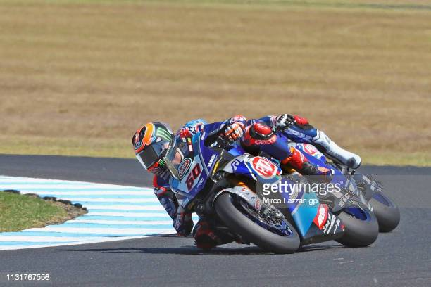 Michael Van Der Mark of Netherlands and PATA Yamaha WorldSBK Team leads the field during Superbike race 2 during the 2019 World Superbikes at Phillip...