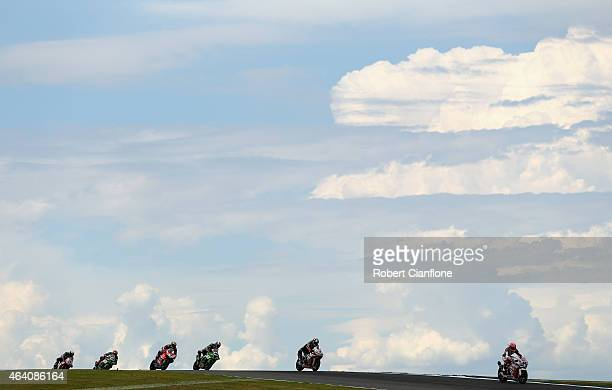 Michael van der Mark of the Netherlands riding the Pata Honda World Superbike Team Honda CBR1000RR SP leads during race two of the World Superbikes...