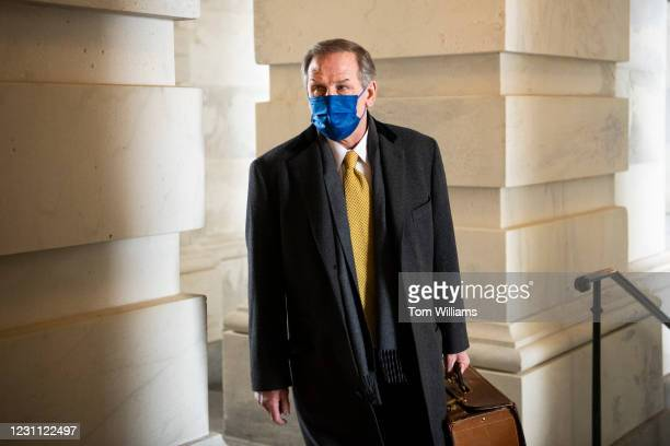 Michael van der Veen, a lawyer on former President Donald Trumps legal team, arrives to the Capitol on the fourth day of Trumps impeachment trial on...