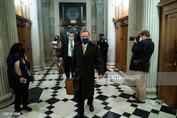 Michael van der Veen, former President Donald Trump's defense lawyer, departs the U.S. Capitol following the conclusion of the fourth day of the...