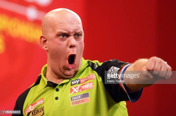 Michael Van Gerwen celebrates after winning a leg during Day Three of the PDC Players Darts Championship at Butlins Resort on November 24 2019 in...