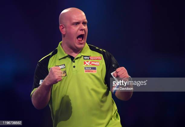 Michael van Gerwen celebrates during the SemiFinal match between Michael van Gerwen and Nathan Aspinall on Day 15 of the 2020 William Hill World...