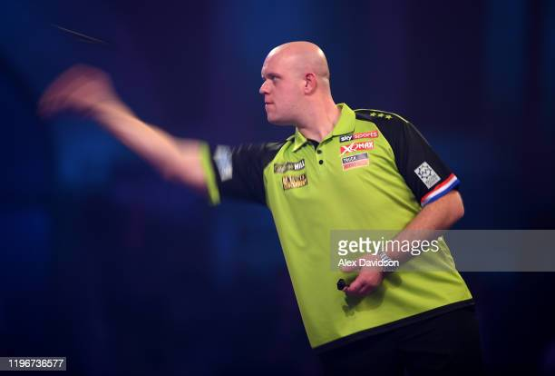 Michael van Gerwen in action during the Semi-Final match between Michael van Gerwen and Nathan Aspinall on Day 15 of the 2020 William Hill World...