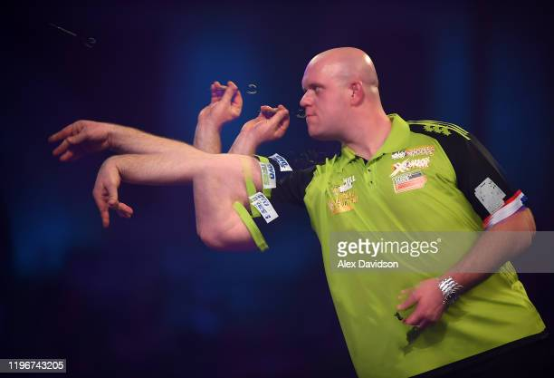 Michael van Gerwen in action during the SemiFinal match between Michael van Gerwen and Nathan Aspinall on Day 15 of the 2020 William Hill World Darts...