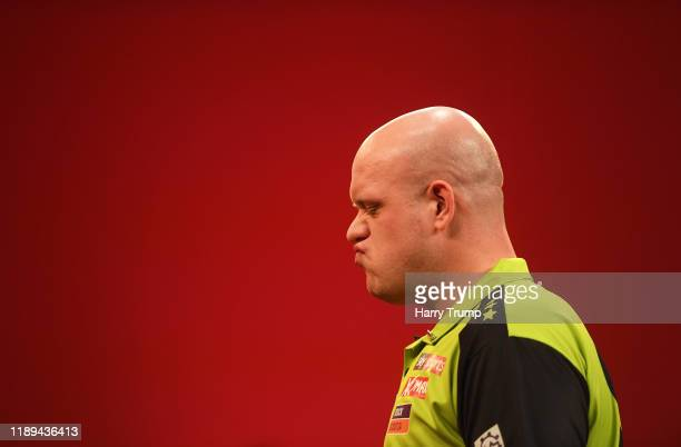 Michael Van Gerwen looks on during Day One of the PDC Players Darts Championship at Butlins Resort on November 22 2019 in Minehead England