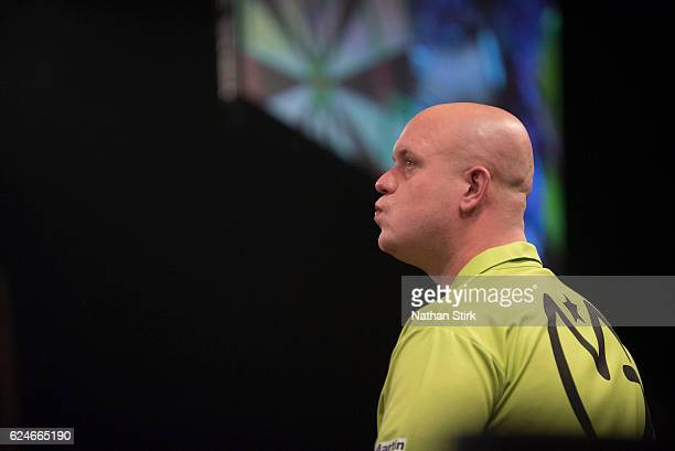 Michael van Gerwen looks on in his final match against James Wade of England during the SINGHA Beer Grand Slam of Darts at Wolverhampton Civic Hall...