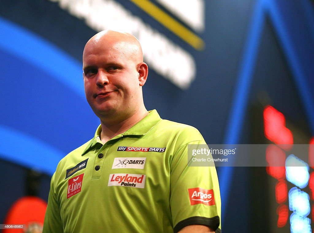 Michael van Gerwen of Holland during his first round match against Joe Cullen of England during the William Hill PDC World Darts Championships on Day One at Alexandra Palace on December 18, 2014 in London, England.