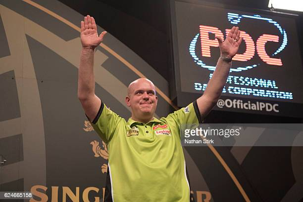 Michael van Gerwen of the Netherlands celebrates winning in the final match against James Wade of England during the SINGHA Beer Grand Slam of Darts...