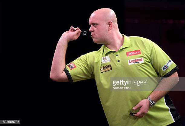 Michael van Gerwen of the Netherlands during the semifinal match against Peter Wright during the SINGHA Beer Grand Slam of Darts at Wolverhampton...