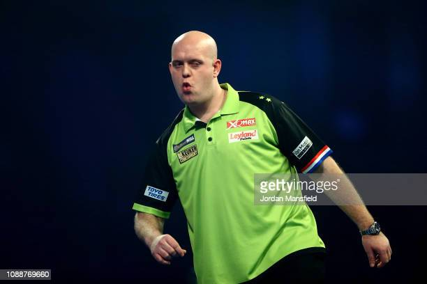 Michael van Gerwen of the Netherlands reacts during the Final match against Michael Smith of England during Day 17 of the 2019 William Hill World...