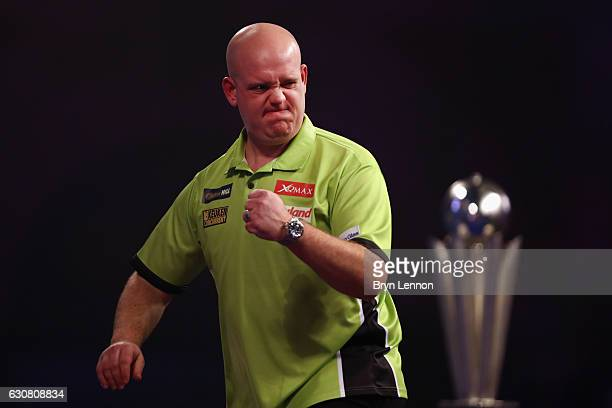 Michael van Gerwen of The Netherlands reacts during the final of the 2017 William Hill PDC World Darts Championships at Alexandra Palace on January 2...
