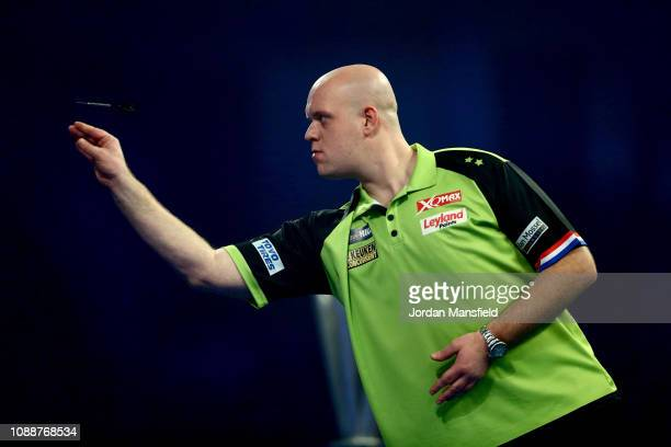 Michael van Gerwen of the Netherlands throws during the Final match against Michael Smith of England during Day 17 of the 2019 William Hill World...