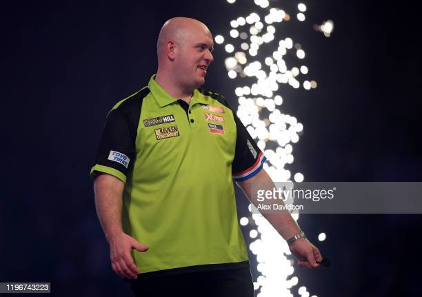 Michael van Gerwen reacts after victory in the Semi-Final match between Michael van Gerwen and Nathan Aspinall on Day 15 of the 2020 William Hill...