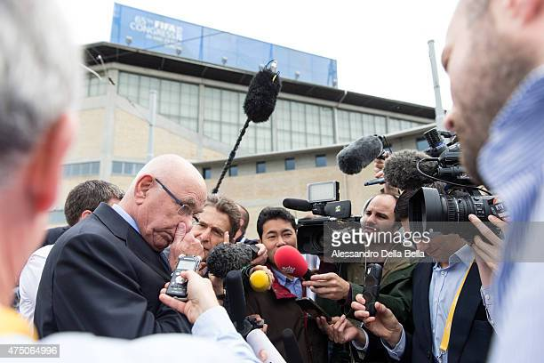Michael van Praag, chairman of the Royal Dutch Football Association, speaks to the press ahead of the 65th FIFA Congress at Hallenstadion on May 29,...