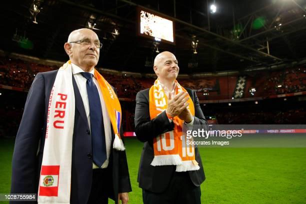 Michael van Praag, FIFA president Gianni Infantino during the International Friendly match between Holland v Peru at the Johan Cruijff Arena on...