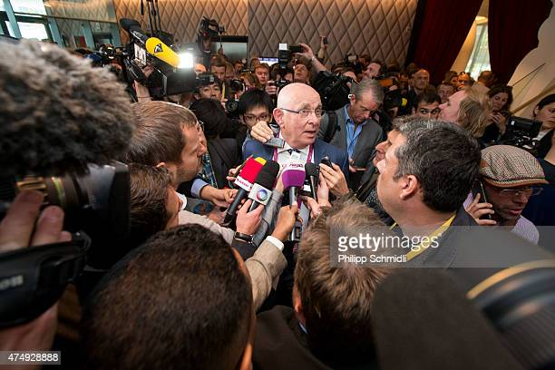 Michael van Praag speaks to journalists prior to the 65th FIFA Congress at Hallenstadion on May 28, 2015 in Zurich, Switzerland.