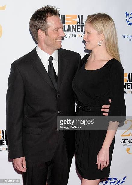 Michael Vartan and Lauren Skaar arrive as The Humane Society of the United States celebrates the 25th Anniversary Genesis Awards held at the Hyatt...