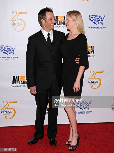 Michael Vartan and Lauren Skaar arrive at the 25th Anniversary Genesis Awards hosted by the Humane Society of the United States held at the Hyatt...