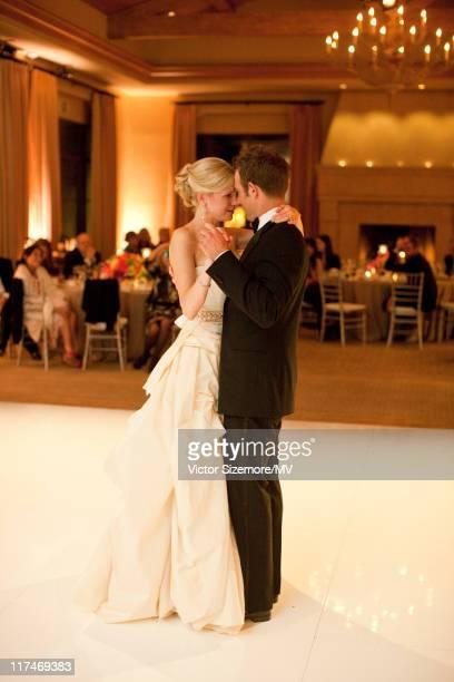 Michael Vartan and Lauren Skaar dance during their wedding at The Resort at Pelican Hill April 2 2011 in Newport Beach California Lauren is wearing...