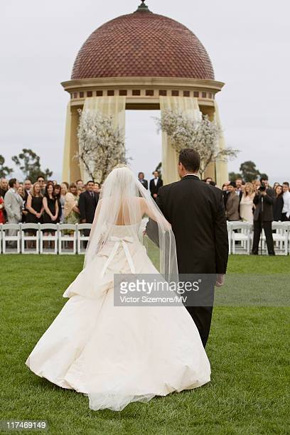 Michael Vartan and Lauren Skaar during their wedding at The Resort at Pelican Hill April 2 2011 in Newport Beach California Lauren is wearing Vera...