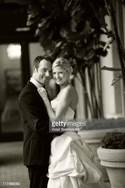 Michael Vartan and Lauren Skaar pose during their wedding at The Resort at Pelican Hill April 2 2011 in Newport Beach California Lauren is wearing...
