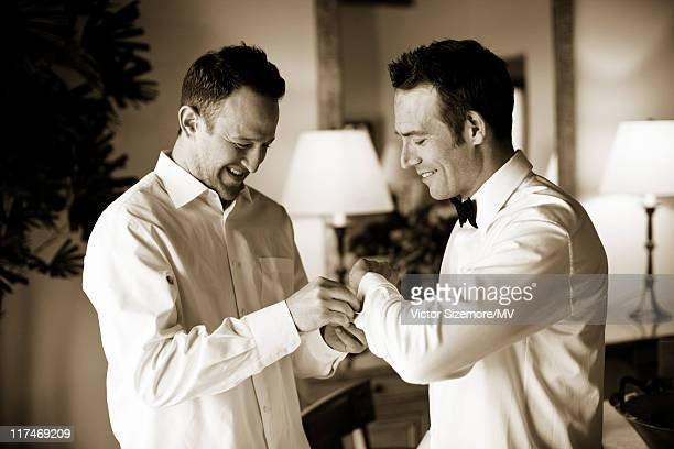 Michael Vartan with Best Man Justin Sintic before Vartan's wedding to Lauren Skarr at The Resort at Pelican Hill April 2 2011 in Newport Beach...