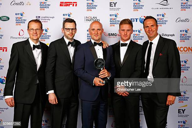 Michael Vaughan and Jason Roy present Agency of the Year to MC Saatchi Sport Entertainment at the BT Sport Industry Awards 2016 at Battersea...