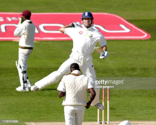 Michael Vaughan celebrates getting 100 in his first test for 18 months England v West indies 2nd cricket test at Headingley Leeds 25th May 2007.